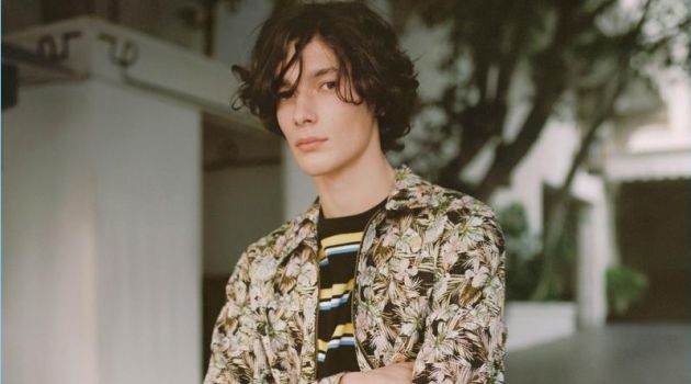Mixing prints, Anton Jaeger appears in Topman's spring 2018 campaign.
