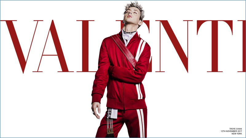Dressed in red, Troye Sivan appears in Valentino's spring-summer 2018 campaign.