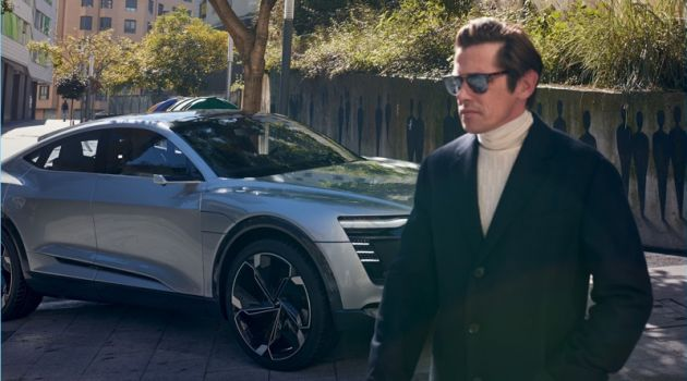 Model Werner Schreyer fronts an outing for the Audi e-tron Sportback concept.