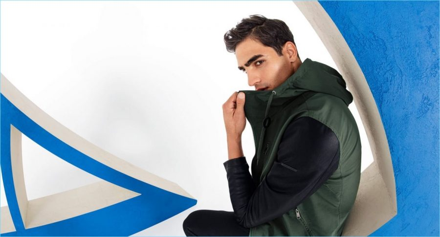 Channeling sporty vibes, Jhonattan Burjack connects with Armani Exchange.