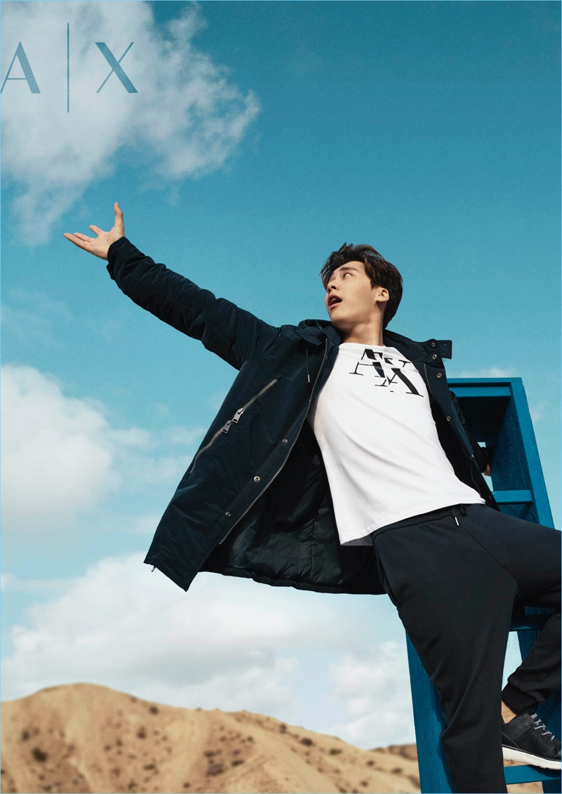 Li Yifeng stars in Armani Exchange's spring-summer 2018 campaign.