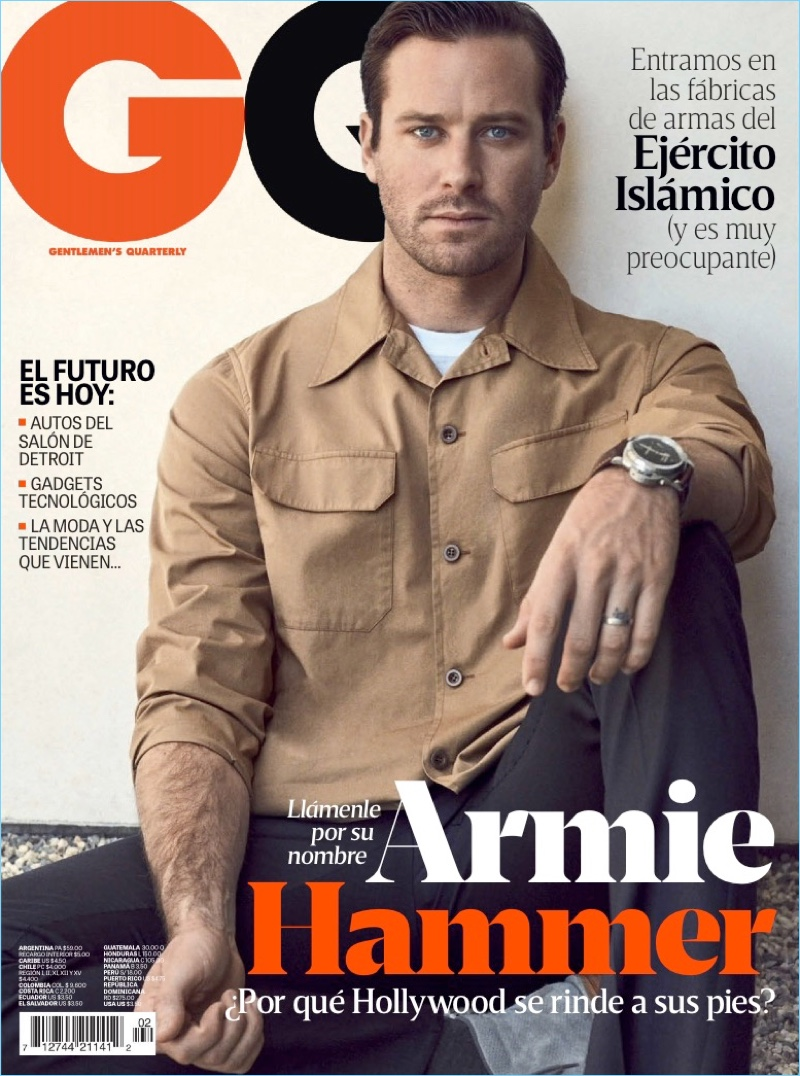 Actor Armie Hammer covers the March 2018 issue of GQ Latin America.