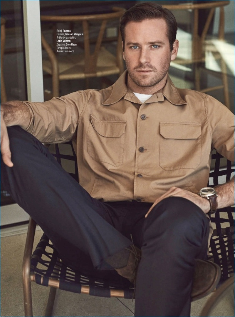 Connecting with GQ México, Armie Hammer wears a Maison Margiela shirt with a t-shirt and pants by Louis Vuitton. Hammer also dons a Panerai watch and Cole Haan shoes.