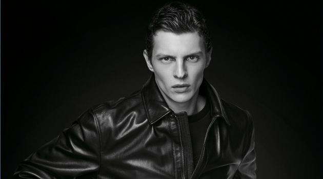 Model Tim Schuhmacher sports a leather jacket from BOSS' Black Edition capsule collection.