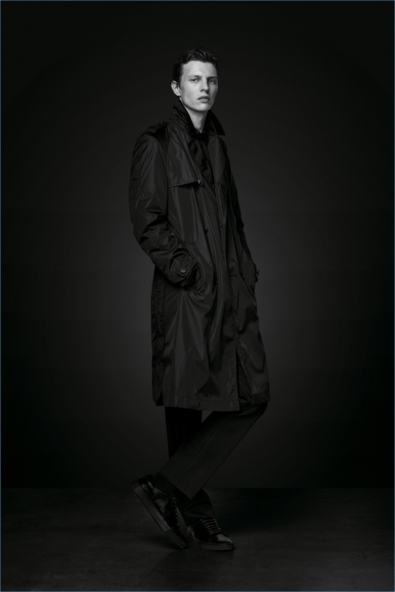 BOSS enlists Tim Schuhmacher to wear a lightweight coat from its Black Edition capsule collection.