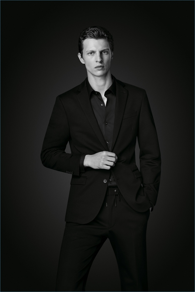 Suiting up, Tim Schuhmacher wears a look from BOSS' Black Edition capsule collection.