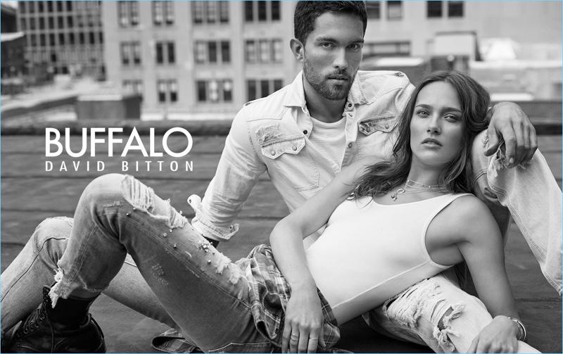 Models Tobias Sørensen and Karmen Pedaru come together for Buffalo David Bitton's spring-summer 2018 campaign.