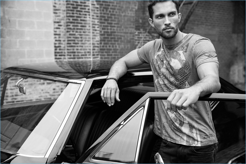 Embracing casual style, Tobias Sørensen fronts Buffalo David Bitton's spring-summer 2018 campaign.