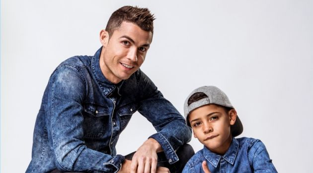 Cristiano Ronaldo and his son Jr. star in CR7 Denim's spring-summer 2018 campaign.