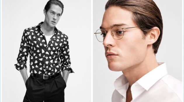 Left: Cesar wears shirt by J.W.Anderson from LN-CC, belt by Tod's and trousers by Valentino from O'. Right: Cesar dons glasses by Cutler & Gross and shirt by Lanvin from Biffi.