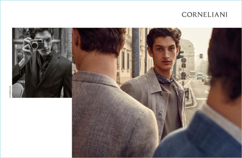 Corneliani enlists Aaron Shandel as the star of its spring-summer 2018 campaign.