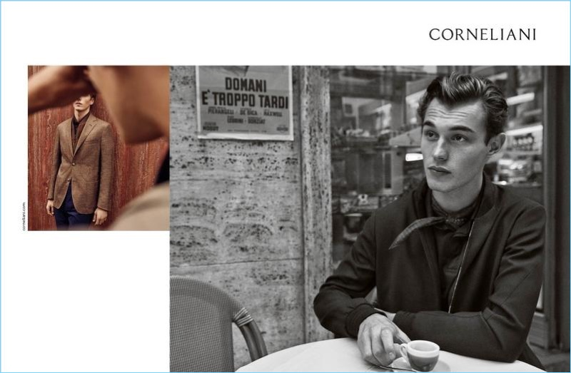 Kit Butler stars in Corneliani's spring-summer 2018 campaign.