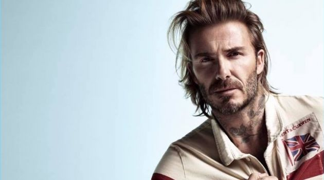 Starring in Kent & Curwen's spring-summer 2018 campaign, David Beckham wears a rugby shirt with the Union Jack.
