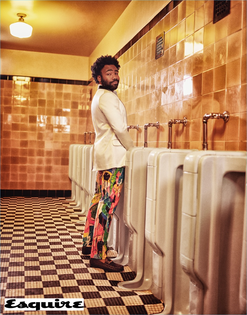 An all-around funnyman, Donald Glover wears a Balmain jacket with Agnès B. trousers and Tom Ford loafers.