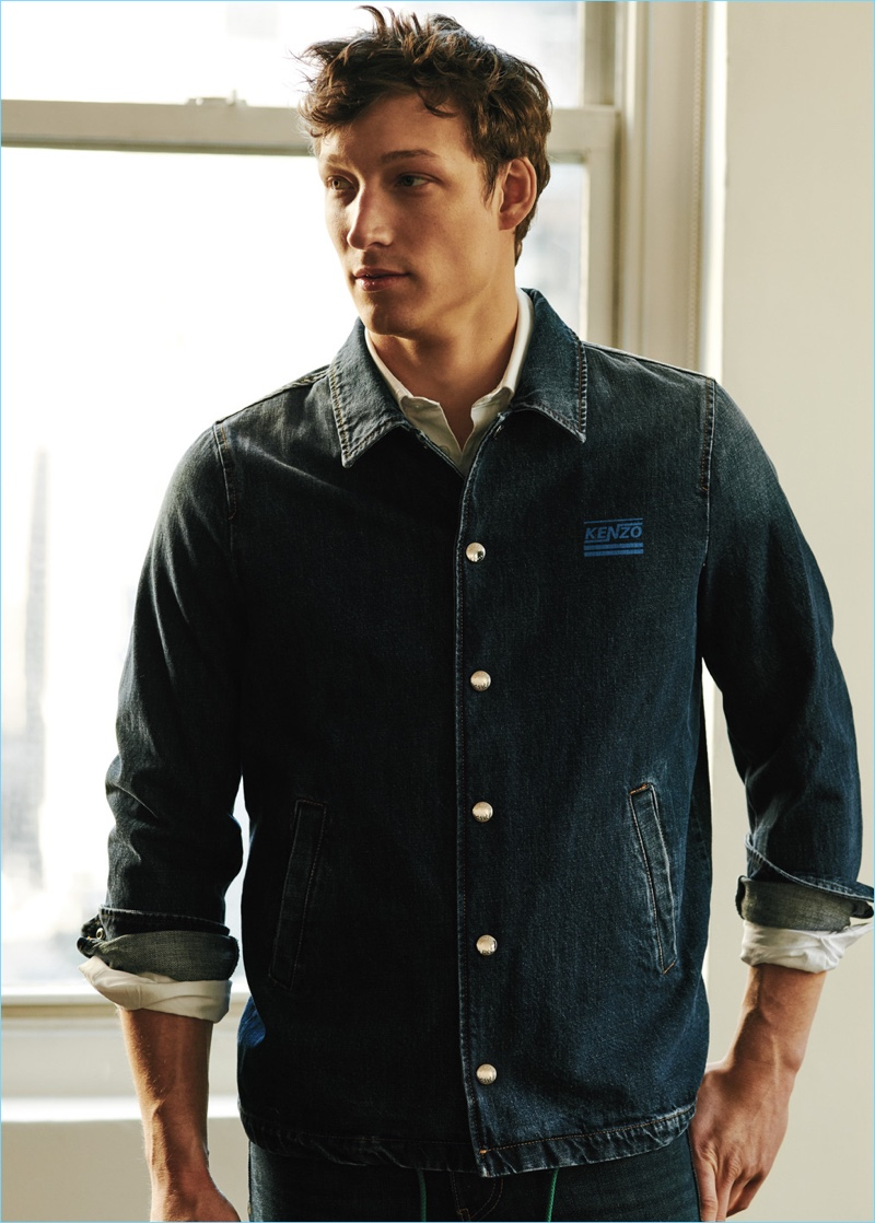 Double down on denim with a Kenzo denim coach jacket and shirt with Levi's 511 slim-fit jeans.