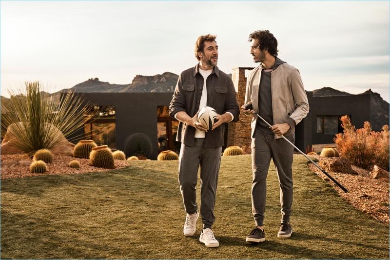 Actors Javier Bardem and Dev Patel appear in Ermenegildo Zegna's spring-summer 2018 campaign.