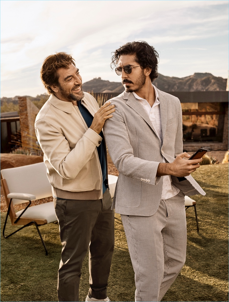 Ermenegildo Zegna enlists Javier Bardem and Dev Patel as the stars of its spring-summer 2018 campaign.