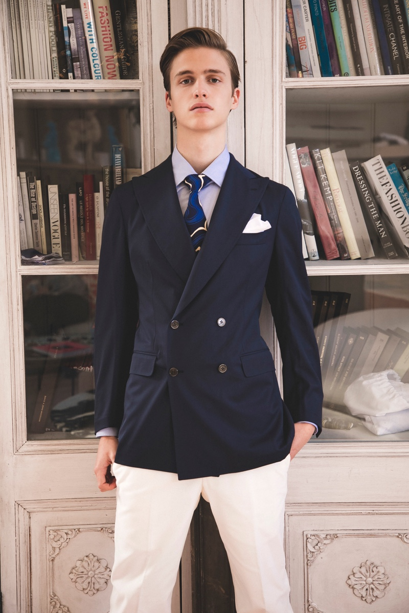 A sleek vision, James Wyrick dresses up in a double-breasted blazer by P Johnson Tailors.