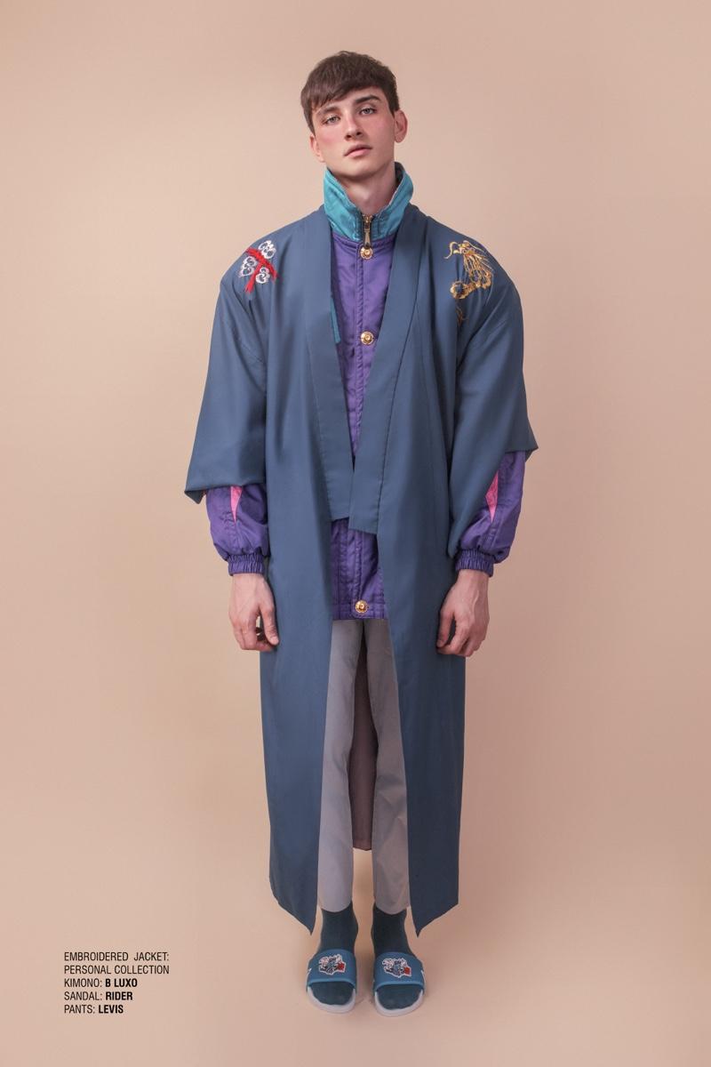 Vitor wears jacket stylist's own, kimono B. Luxo, sandals Rider, and pants Levi's.