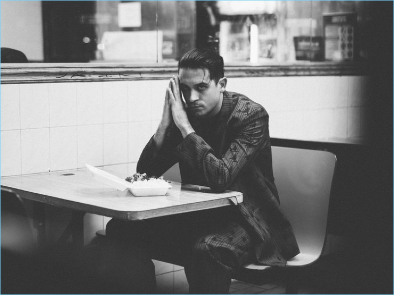 Connecting with Flaunt magazine, G-Eazy dons a Marni suit with a Hugo Boss shirt.