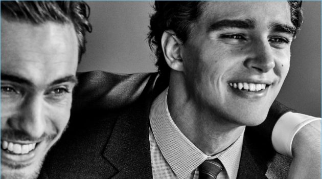 Models Maxime Daunay and Pepe Barroso come together for Giorgio Armani's Made to Measure campaign.