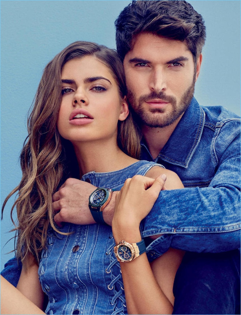 Gwen van Meir and Nick Bateman front Guess' spring-summer 2018 accessories campaign.