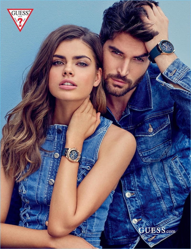 Models Gwen van Meir and Nick Bateman star in Guess' spring-summer 2018 accessories campaign.