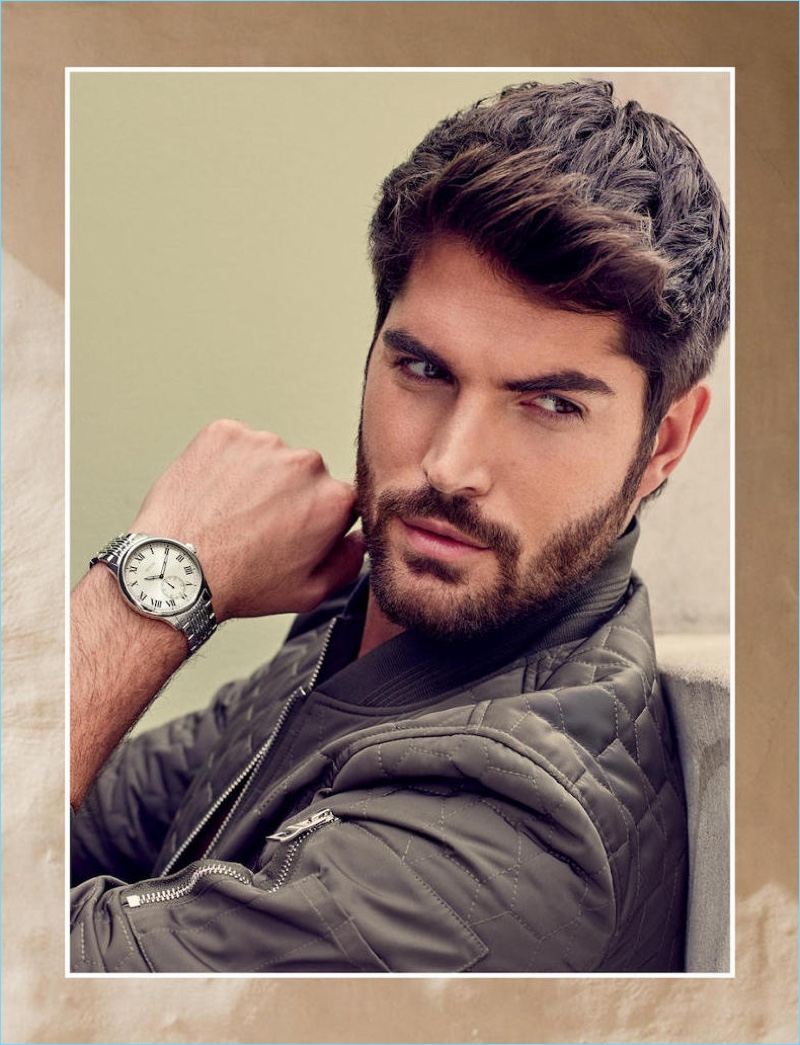 Canadian model Nick Bateman sports a watch for Guess' spring-summer 2018 accessories campaign.