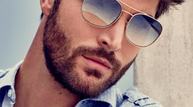 A cool vision in sunglasses, Nick Bateman stars in Guess' spring-summer 2018 accessories campaign.