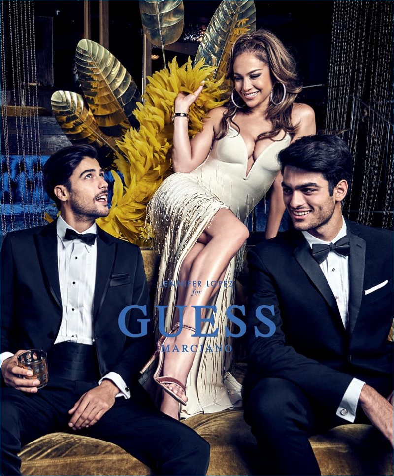 Alessandro Dellisola and Matteo Bocelli join Jennifer Lopez for Guess' spring-summer 2018 campaign.