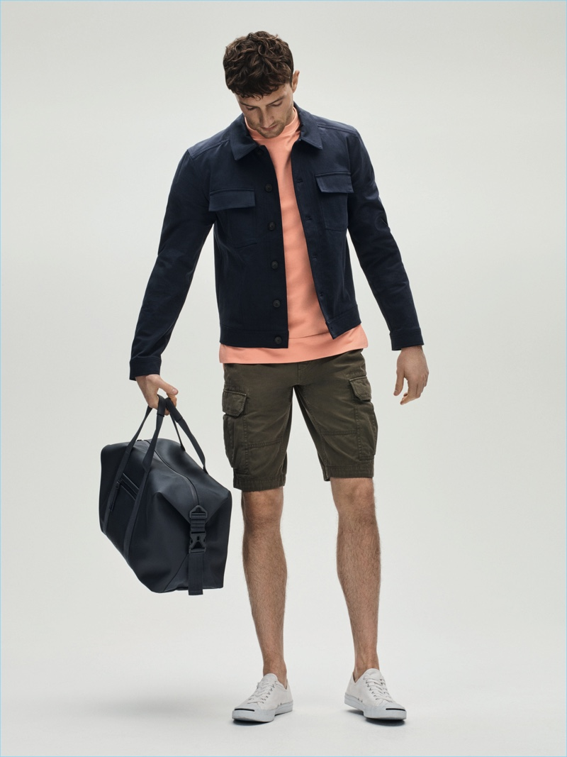 Jacket £150 Libertine Top £25 Shorts £40 both Criminal Holdall £140 Lacoste at House of Fraser