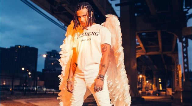 Vic Mensa wears angel wings for Iceberg's spring-summer 2018 campaign.