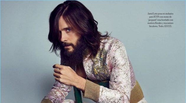 Actor Jared Leto dons a dandy Gucci look with Tod's loafers.