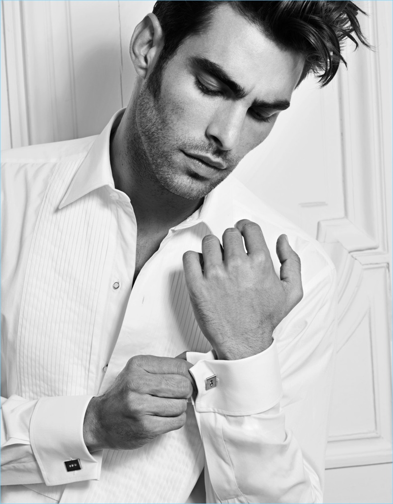 Top model Jon Kortajarena wears a variation of Messika's Move jewels, the cufflinks.