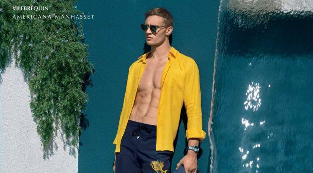 Ready for summer, Julian Schneyder wears Vilebrequin.