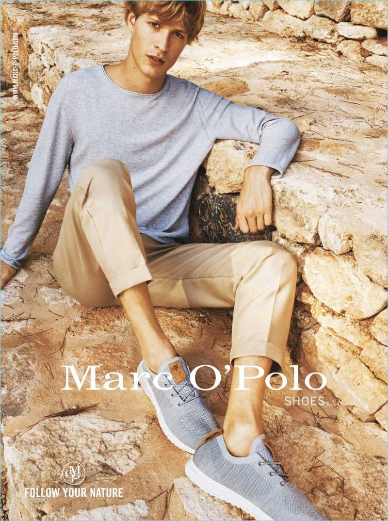 Dutch model Sven de Vries shows off new sneakers from Marc O'Polo.