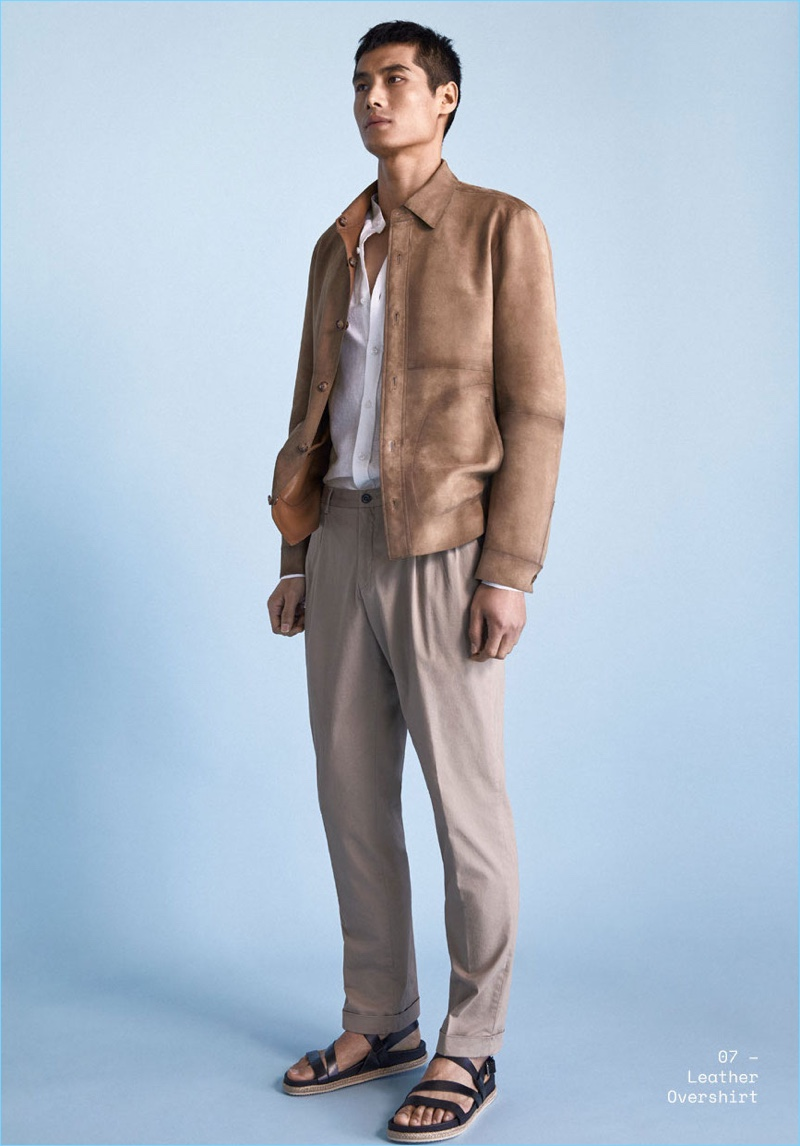 Chinese model Hao Yun Xiang wears a must-have leather jacket by Massimo Dutti.