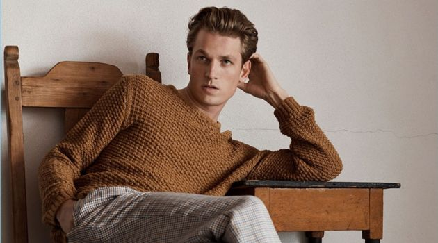 French model Hugo Sauzay appears in Massimo Dutti's spring-summer 2018 campaign.