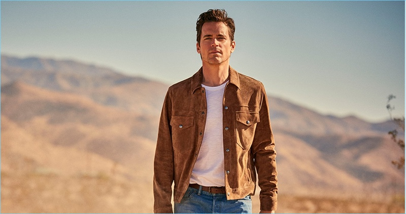Matt Bomer wears a suede jacket, pocket tee, and selvedge jeans for Todd Snyder's spring-summer 2018 campaign.