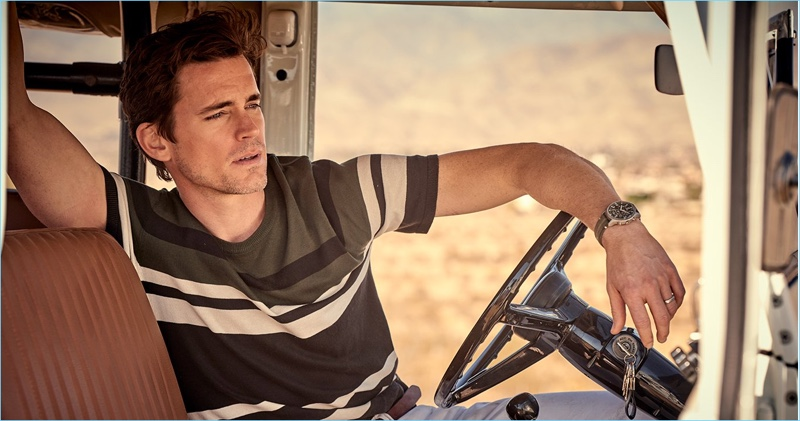 Sporting a short-sleeve striped sweater, Matt Bomer fronts Todd Snyder's spring-summer 2018 campaign.
