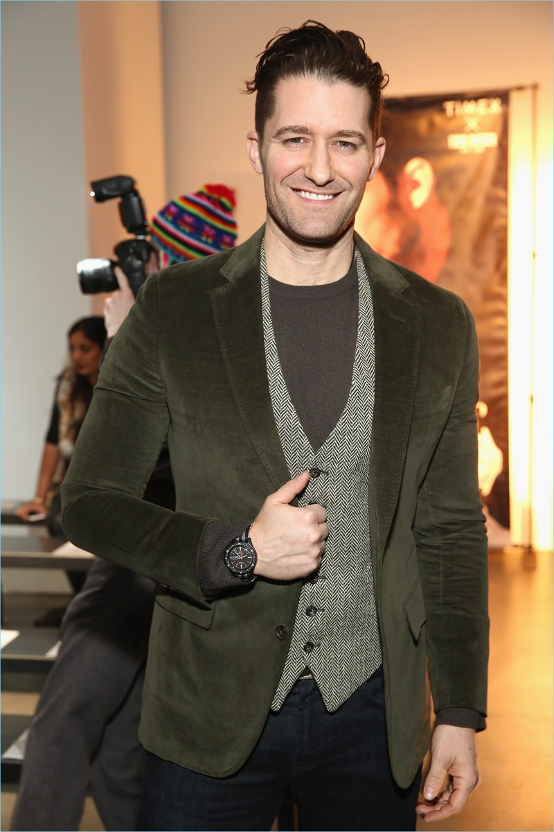 All smiles, Matthew Morrison wears the Todd Snyder x Timex MS1 Maritime sport watch.