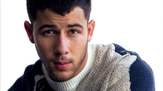 Singer Nick Jonas wears a sweater by 3.1 Phillip Lim.