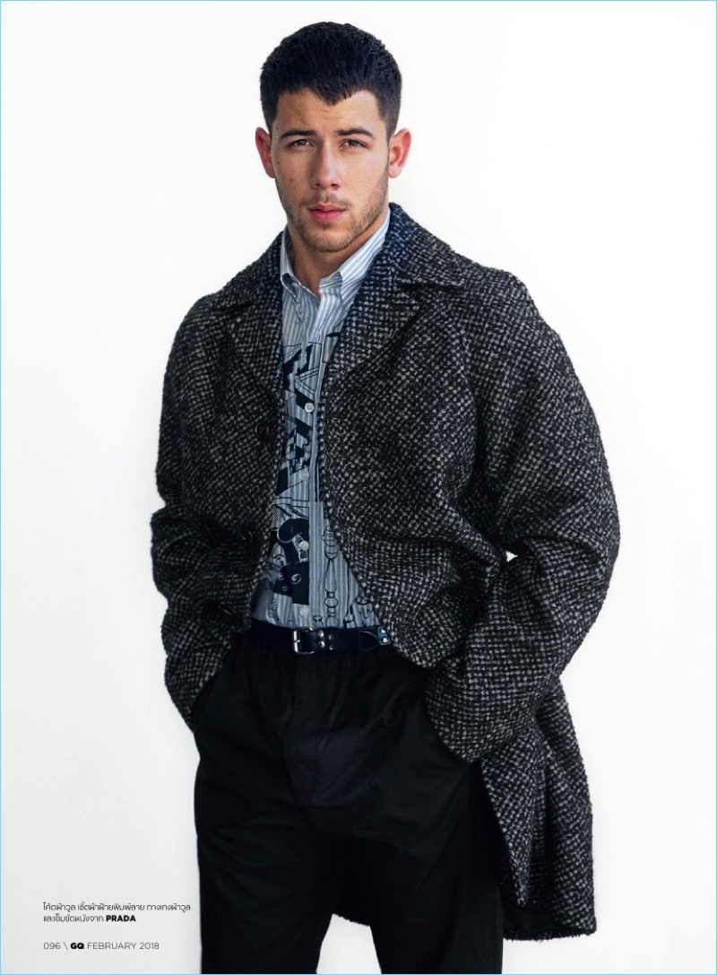 Front and center, Nick Jonas dons a Prada look.