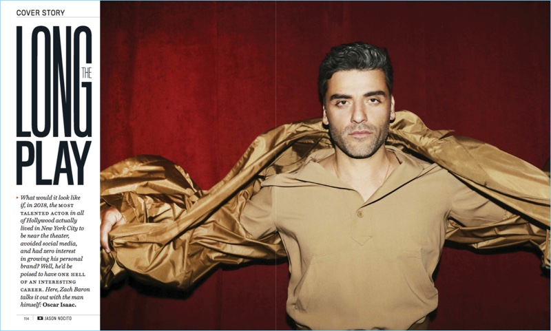 Actor Oscar Isaac wears a spring look by Bottega Veneta.