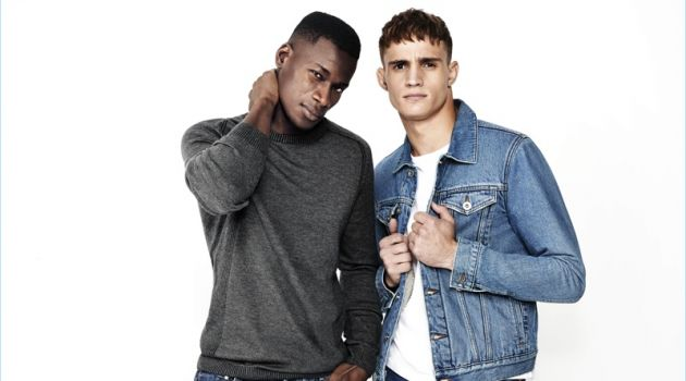 David Agbodji and Julian Schneyder rock denim fashions from River Island.