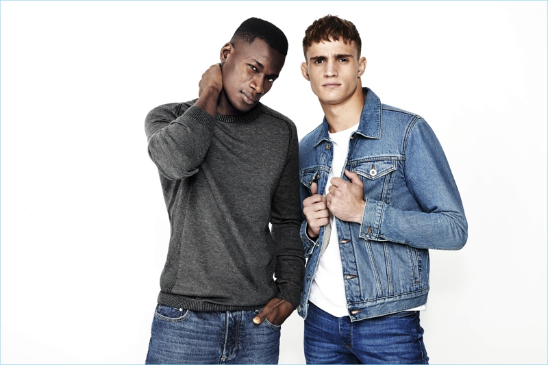 d524154119f David Agbodji and Julian Schneyder rock denim fashions from River Island.
