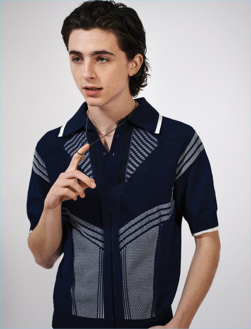 Starring in a photo shoot, Timothée Chalamet wears a Prada polo.