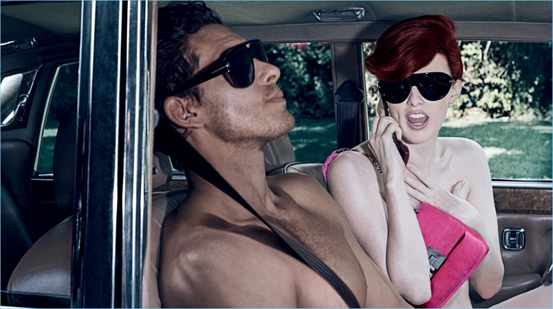 Models Adam Senn and Karen Elson front Tom Ford's spring-summer 2018 campaign.