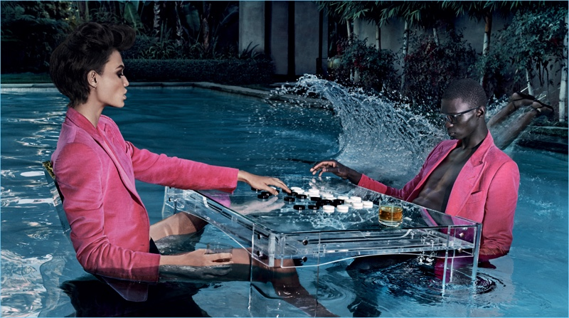Joan Smalls and Fernando Cabral play checkers for Tom Ford's spring-summer 2018 campaign.