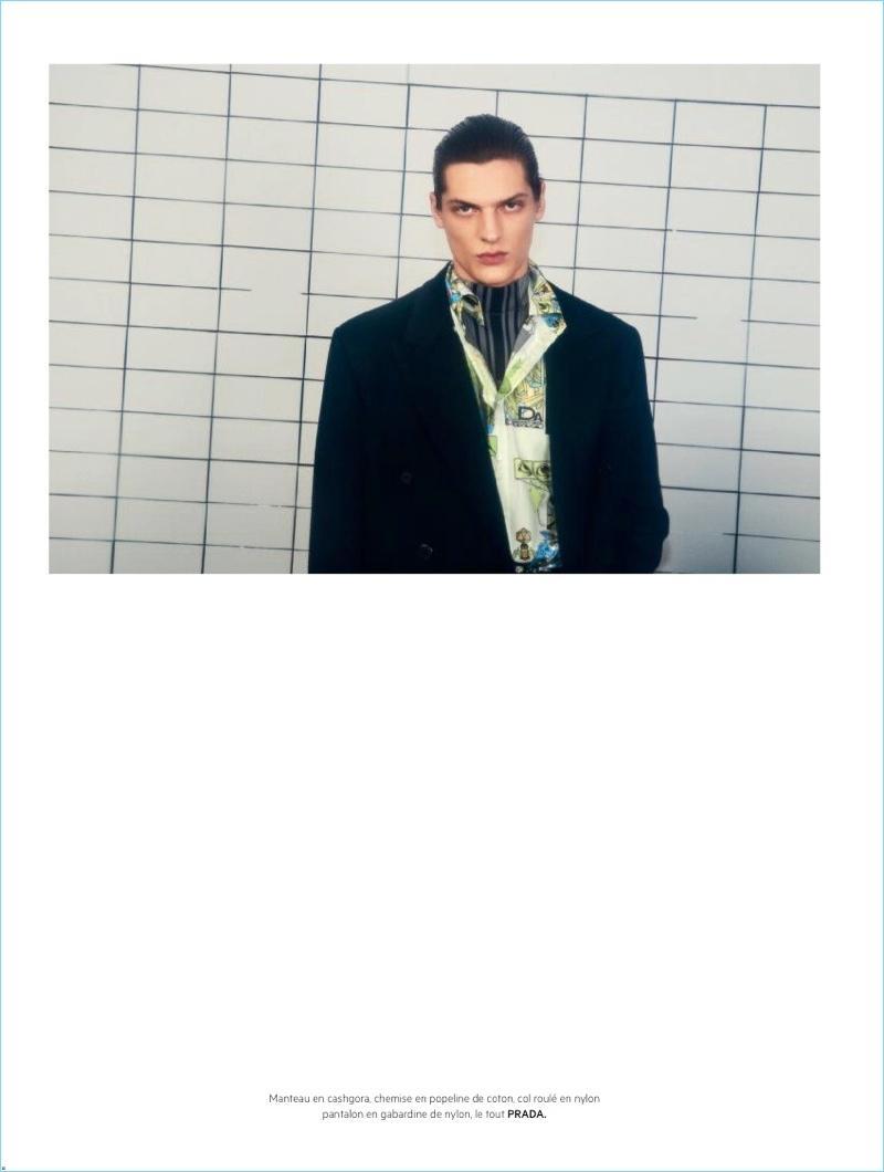 Valentin Caron Models Prada Looks for L'Officiel Hommes Cover Shoot